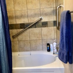 Relax in this Soaking Tub with lavender epson salts or enjoy the Shower.